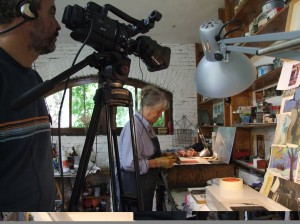 Filming Printmaking Master Classes in Maureen Booth's Granada Studio