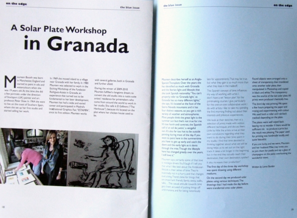Lorna Burden's article on solar-plate printmaking with Maureen