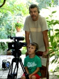 Juan Carlos Romera, video producer, with his assistant, Mario