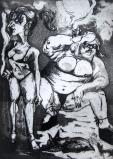 Las putas de la Casa del Campo, Madrid, an etching by Lou Netter