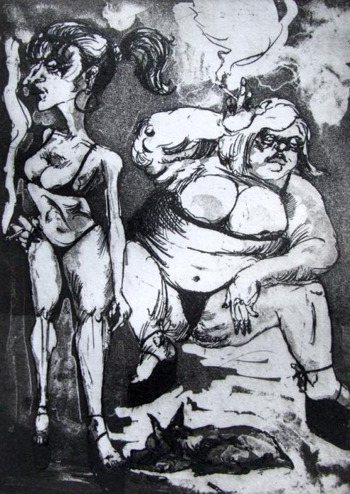 Las Putas de la Casa del Campo, Madrid--etching by Lou Netter