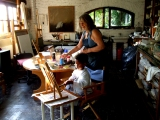Claudio painting in Maureen's studio