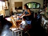 Claudio painting in Maureen's studio