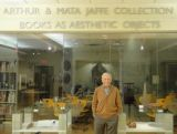Arthur Jaffe at the entrance to the Jaffe Center for Book Arts at the Florida Atlantic University libraries.